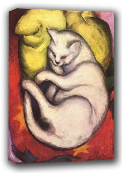 Marc, Franz: Cat on a Yellow Cushion. Fine Art Animal Canvas. Sizes: A3/A2/A1 (00691)